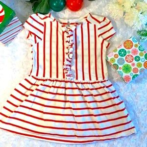 Baby Girl Red & White Striped Dress Size 18-24 M